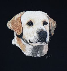 I did this for a wonderful friend for her birthday in memory of her beloved labs. Thread Painting, Gold Work, Labs, Hand Stitching, Colours, Quilts, Embroidery, Birthday, Pattern