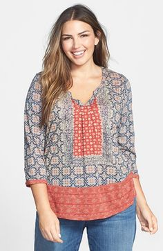 Lucky Brand Placed Print Scarf Top (Plus Size) available at #Nordstrom