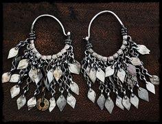 Antique Afghan Hoop Earrings - Tribal Hoop Earrings