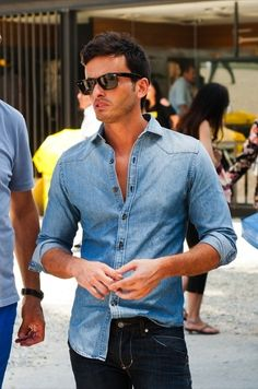 Denim shirt with blue jeans