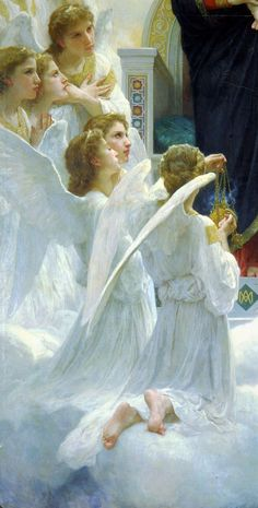 William-Adolphe Bouguereau, The Virgin With Angels 1900 Petit Palais Angel Aesthetic, Aesthetic Art, Renaissance Kunst, William Adolphe Bouguereau, I Believe In Angels, Angel Pictures, Angels Among Us, Classic Paintings, Mystique