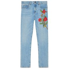 Gucci Embroidered Denim Pant ($1,200) ❤ liked on Polyvore featuring pants, flower pants, floral denim pants, blue pants, floral printed pants and blue trousers