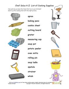 Cooking supply worksheet!
