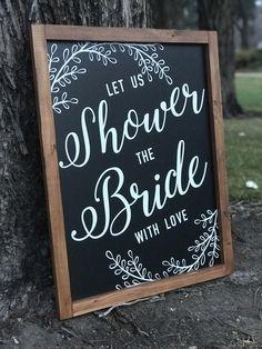 Bridal Shower Chalkboard, Bridal Shower Rustic, Bridal Shower Party, Bridal Shower Decorations, Bridal Showers, Wedding Decorations, Chalkboard Welcome Signs, Framed Chalkboard, Chalkboard Ideas