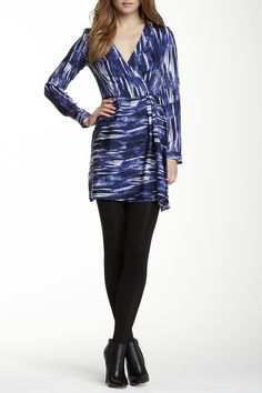Isabella Printed Silk Blend Wrap Dress