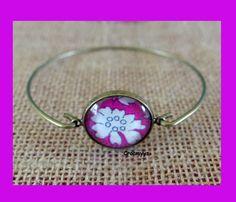 Bracelet cabochon liberty capel fuchsia : Bracelet par crocmyys