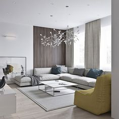 Neutral modern apartment by Anton Sukharev - living room with pops of color