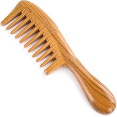 Breezelike No Static Super Big Size Round Handle Sandalwood Wide Tooth Comb -- Click image to review more details.