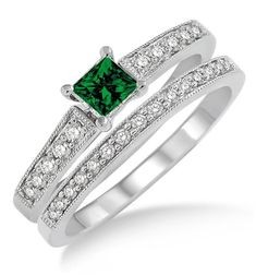 1.5 Carat Emerald & Diamond Antique Flower Bridal Set on 10k White Gold. The sparkle of Emerald Gemstone along with glittering diamonds in this beautiful Emerald and diamond engagement ring wedding set would make her fall in love. The inexpensive Emerald and diamond gemstone bridal ring would be an instant family haireloom.| Price: $539.00 USD on Shygems