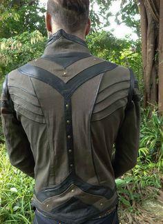 mens taurid festival style stretch denim jacket vest with elaborate detailing