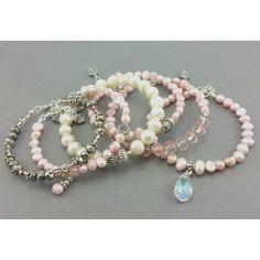 Bransoletka perły naturalne ecru różowy kryształek Pearl Necklace, Jewelry, Malachite, Jewellery Making, String Of Pearls, Jewerly, Jewelery, Pearl Necklaces