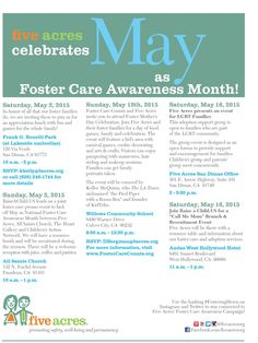 Five Acres Celebrates May as Foster Care Awareness Month! Join us at these upcoming events to help spread the word about the importance of foster care and bring awareness to the need to recruit MORE foster families in Los Angeles. Hope to see you soon! #FosteringHeroes