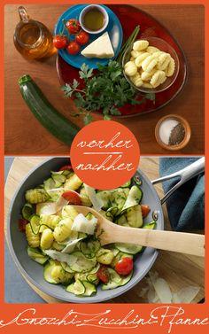 http://eatsmarter.de/rezepte/gnocchi-zucchini-pfanne Dieses Gericht schmeckt gut und ist super schnell zubereitet.