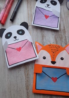 Cute Postcard,Amazing idea for gift for any occasion. Cute postcard with panda. Awesome postcard with fox. Inspire these cool ideas for postcards and create your ow. Art Drawings For Kids, Art For Kids, Crafts For Kids, Paint Pens, Paint Markers, Diy Gifts, Unique Gifts, Fabric Cards, Diy Cards
