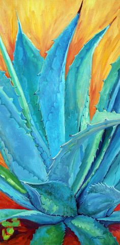 Succulent Painting - Fire And Ice 2 by Athena Mantle Southwestern Paintings, Southwestern Art, Cactus Painting, Cactus Art, Cactus Plants, Cactus Decor, Painting Art, Cactus E Suculentas, Mexico Art