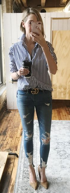 #spring #outfits Striped Shirt & Ripped Skinny Jeans