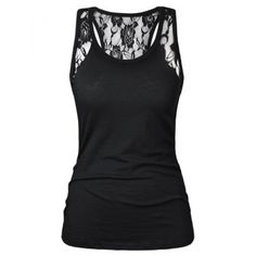 $15.92 Stylish Black Scoop Neck Lace Splicing Tank Top For Women
