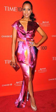 Kerry Washington in Catherine Malandrino dress and Jimmy Choo 'Latoya' miniaudiere at the Time 100 Gala, April 2011