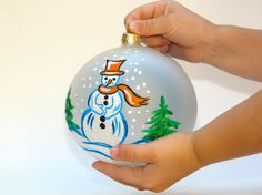 Hand Painted, Stain Glass, Christmas Ornament, Hand Painted, Snow Man, Ornaments Christmas. $18.90, via Etsy.