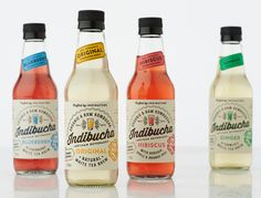 Like the use of subtle color accents on each label - indibucha — The Dieline - Package Design Resource