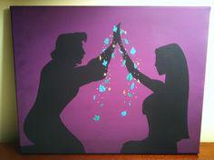 Pocahontas and John Smith Silhouette on Canvas