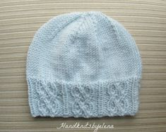Knitting Pattern 114 Blue Hat with Mock Cables for a Lady Baby Hat Knitting Patterns Free, Free Knitting, Baby Knitting, Scarf Patterns, Crochet For Kids, Knit Crochet, Chemo Caps Pattern, Knit Picks, Note