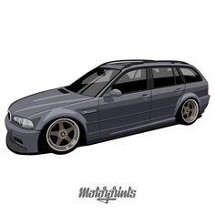 E46 Touring, Cool Car Drawings, Bmw Wagon, Bmw Classic Cars, Car Vector, Bmw E39, Car Sketch, Automotive Design, Art Cars