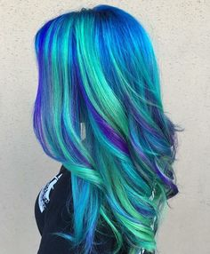 blue hair Hair DIY: Five Ideas for Blu - haar Green Hair, Purple Hair, Blue Green, Turquoise Hair, Green Turquoise, Diy Hairstyles, Pretty Hairstyles, Hairstyle Ideas, Haircuts