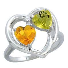 14K White Gold Diamond Two-stone Heart Ring 6mm Natural Citrine and Lemon Quartz, sizes 5-10 >>> Discover this special product, click the image : Promise Rings Jewelry