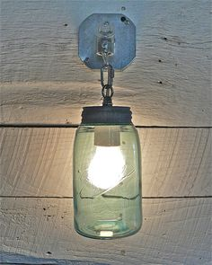 Handcrafted Blue Mason Jar Sconce by thebluecabinet on Etsy, $65.00