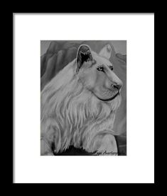Lion Framed Print featuring the drawing White Lion by Faye Anastasopoulou New Yorker Covers, Ocean Scenes, Fancy Houses, Artwork Images, The Guardian, Artist At Work, Framed Art Prints, Vivid Colors, Fine Art America
