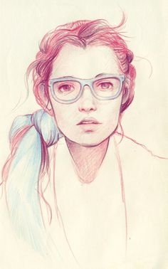 Red and Blue Colored Pencil Drawing of Girl with Glasses and Head Scarf.