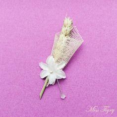 lot de 10 boutonnires invits mariage toile rustique pi de bl et fleur blanche - Boutonnire Invit Mariage