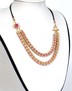 Free Shipping Statement Double chain Necklace jewelry in gold pink beige beadwork handmade, bridal swarovski beaded necklace accessories