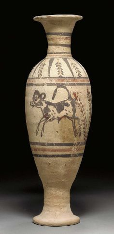 Egyptian pottery vase, New Kingdom, 18th dinasty, 1550-1307 B.C. The ovoid vessel wheel-made of Nile silt covered with a pink wash, both sides of the body decorated with a leaping bull-calf facing left, framed with floral motifs, three horizontal bands above and below the scene, alternating rays and floral motifs on the shoulders, six horizontal bands on the tall thin neck, with a flaring rim and foot, 43 cm high.