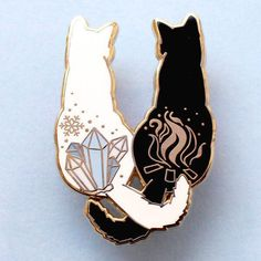 A Fire & Ice Cats Enamel Pin, made from gold hard enamel. Measuring this pin features a black and a white cat with ice and fire symbols on their backs, and is secured with two pink rubber clasps. Jacket Pins, Hard Enamel Pin, Pin Enamel, Cat Colors, Cool Pins, Metal Pins, Fire And Ice, Pin And Patches, Pin Badges