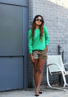 leather leopard shorts + green blouse + heels + sunnies