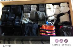 Tamed Spaces de-clutters this underwear drawer in under 60 minutes showing the before, during and after process. Next step is to organise! Declutter, Drawers, Underwear, Organization, Bags, Spaces, Fashion, Set Of Drawers, Getting Organized