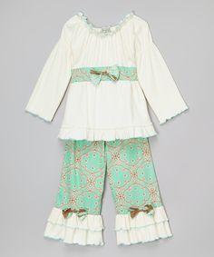 AnnLoren White & Blue Dutch Ruffle Top & Pants - Infant, Toddler & Girls | zulily