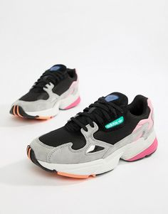 Buy adidas Originals Falcon Trainer In Black Multi at ASOS. With free delivery and return options (Ts&Cs apply), online shopping has never been so easy. Get the latest trends with ASOS now. Sneakers Mode, Dad Sneakers, Best Sneakers, Leather Sneakers, Sneakers Fashion, Air Max Sneakers, Fashion Shoes, Fashion Outfits, Adidas Originals