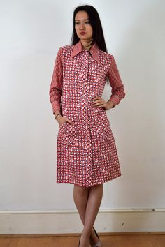 1960s Lanvin Printed Shirt Dress with Angled Pockets