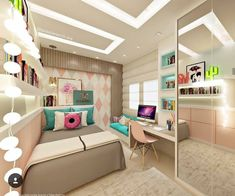 Teen bedroom themes must accommodate visual and function. Here are tips to create the coolest teen bedroom. Teen Room Decor, Room Ideas Bedroom, Small Room Bedroom, Bedroom Themes, Bedroom Decor, Teen Bedroom, Girl Bedrooms, Small Rooms, Bedroom Modern