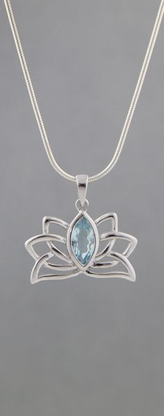 Blue Topaz and Sterling Silver Lotus Pendant