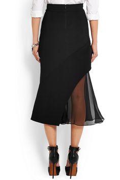 Givenchy|Midi skirt in black crepe and silk-chiffon|NET-A-PORTER.COM