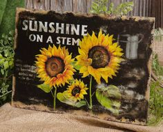 Sunshine On A Stem http://www.ebay.com/itm/Primitive-Country-Farmhouse-Chic-SUNSHINE-STEM-Sunflower-Sign-Wall-Plaque-/360632271726?pt=LH_DefaultDomain_0=item53f75bc36e