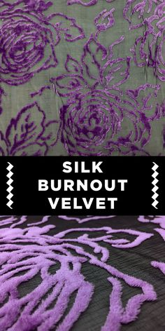 Silk Rayon Burnout Velvet with Floral Rose Pattern in Purple Different Types Of Fabric, Kinds Of Fabric, Fabric Decor, Lace Fabric, Fashion Terminology, Fabric Board, B And J Fabrics, Novelty Fabric, Fabric Names