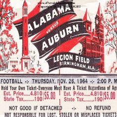 1964 Auburn vs. Alabama Football Ticket Coasters.™ Alabama won the '64 National Title under Bear Bryant. Alabama football gifts. Alabama football art made from authentic Alabama football tickets. Ceramic drink coasters printed in the U.S.A. and shipped in 24 hours.