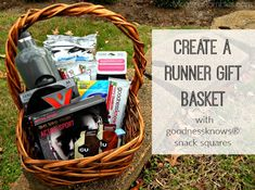 Create a Runner Gift Basket with goodnessknows® snack squares! Fundraiser Baskets, Raffle Baskets, Gift Baskets, Cute Gifts, Best Gifts, Silent Auction Baskets, Running Gifts, Gifts For Runners, Fitness Gifts