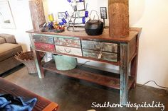 ♥reclaimed wood table for the entry way