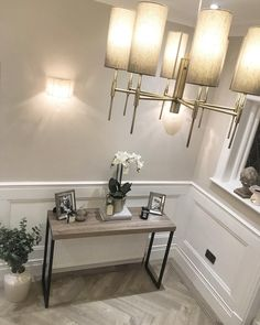 Hallway is coming along nicely now I've finally purchased a console table and had (half) of the panelling painted! It's been a LONGGGG… Grey And White Hallway, Gray Hallway, Hallway Walls, Hallways, Hall Flooring, Grey Flooring, Floors, Victorian House Interiors, Victorian Townhouse
